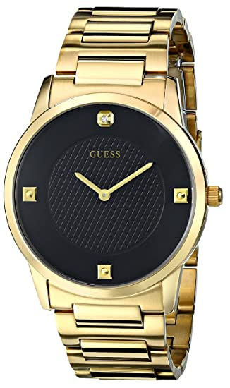 f88540290 GUESS Men's U0428G1 Sleek Gold-Tone Watch with Diamond Accented Black Dial:  Guess: Amazon.ca: Watches