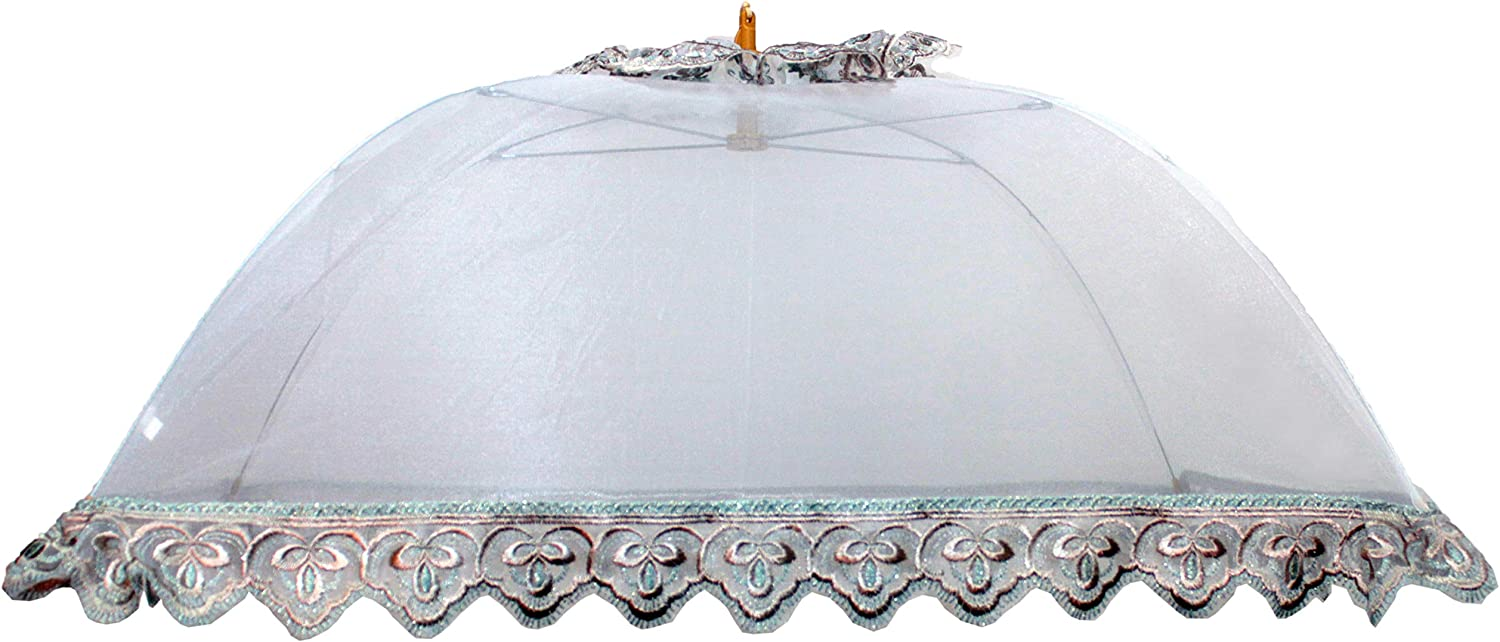 Happimangal Mesh Food Cover Tent, Pop-Up Umbrella, Outdoors for Picnics, Parties, BBQs, Camping, Reusable Collapsible Bug Nets for Indoor Events