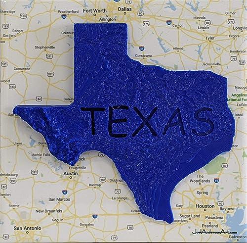 amazon com 3d texas elevation map over central texas art tile print blue handmade amazon com