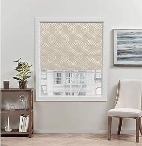 Exclusive Home Curtains Prague Trellis Blackout Roman Shade, 31x64, Natural