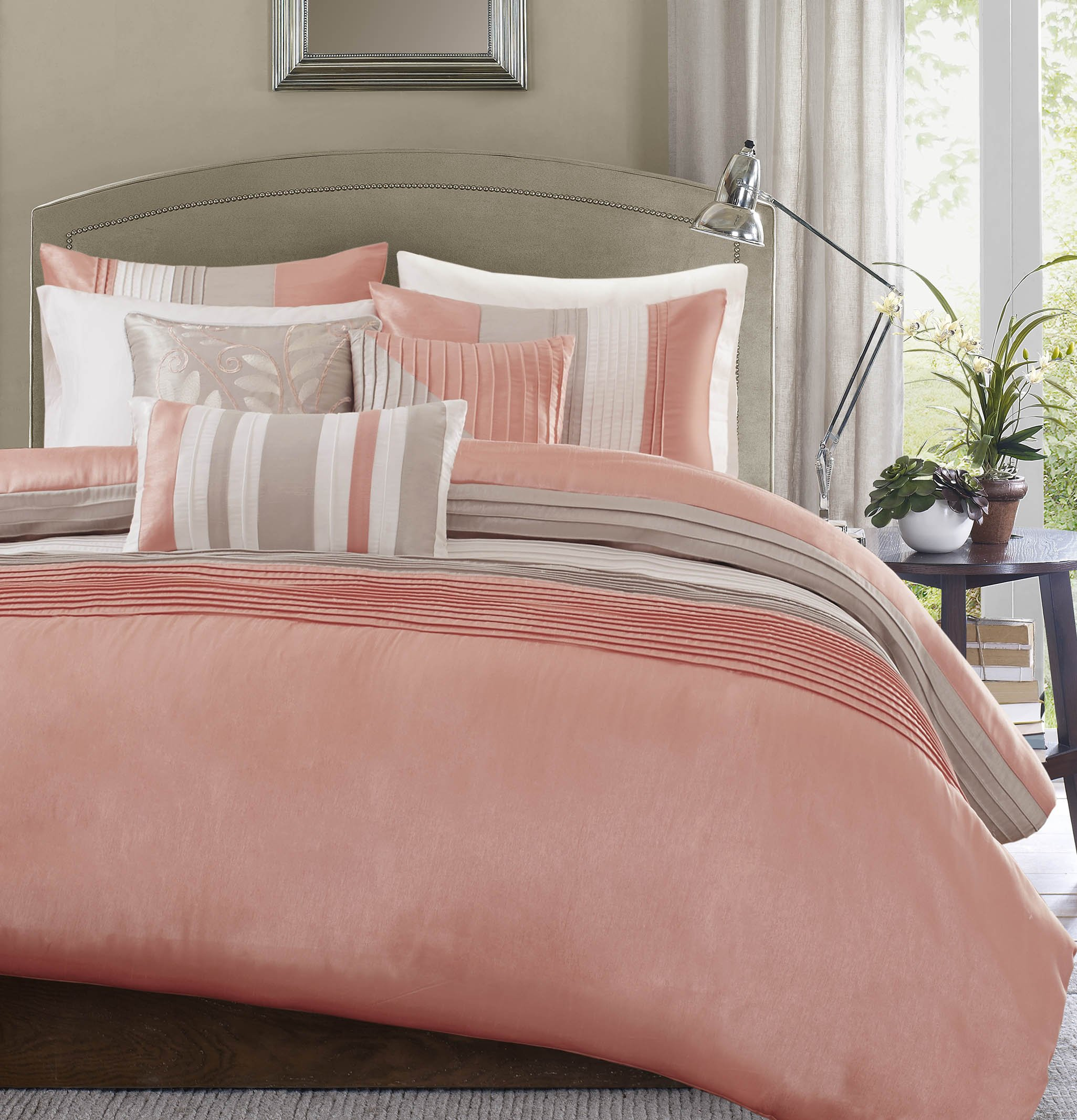Madison Park Amherst Duvet Cover Queen Size - Coral, Khaki, Pieced Stripes Duvet Cover Set – 6 Piece – Ultra Soft Microfiber Light Weight Bed Comforter Covers
