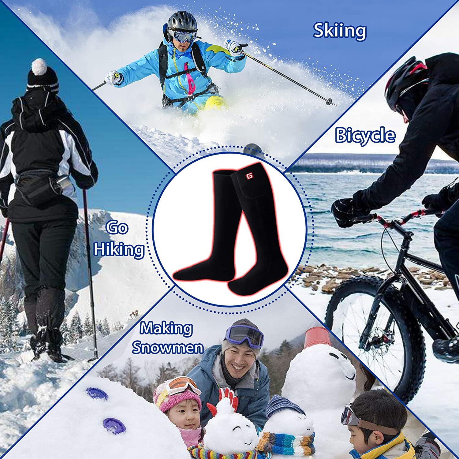 LTD SVPRO Men Women Electric Battery Heated Socks,Warm Winter Heated Socks,Cold Weather Thermal Insulated Socks for Chronically Cold Feet,Warm Foot Warmer for Camping SHENZHEN SVPRO TECHNOLOGY CO
