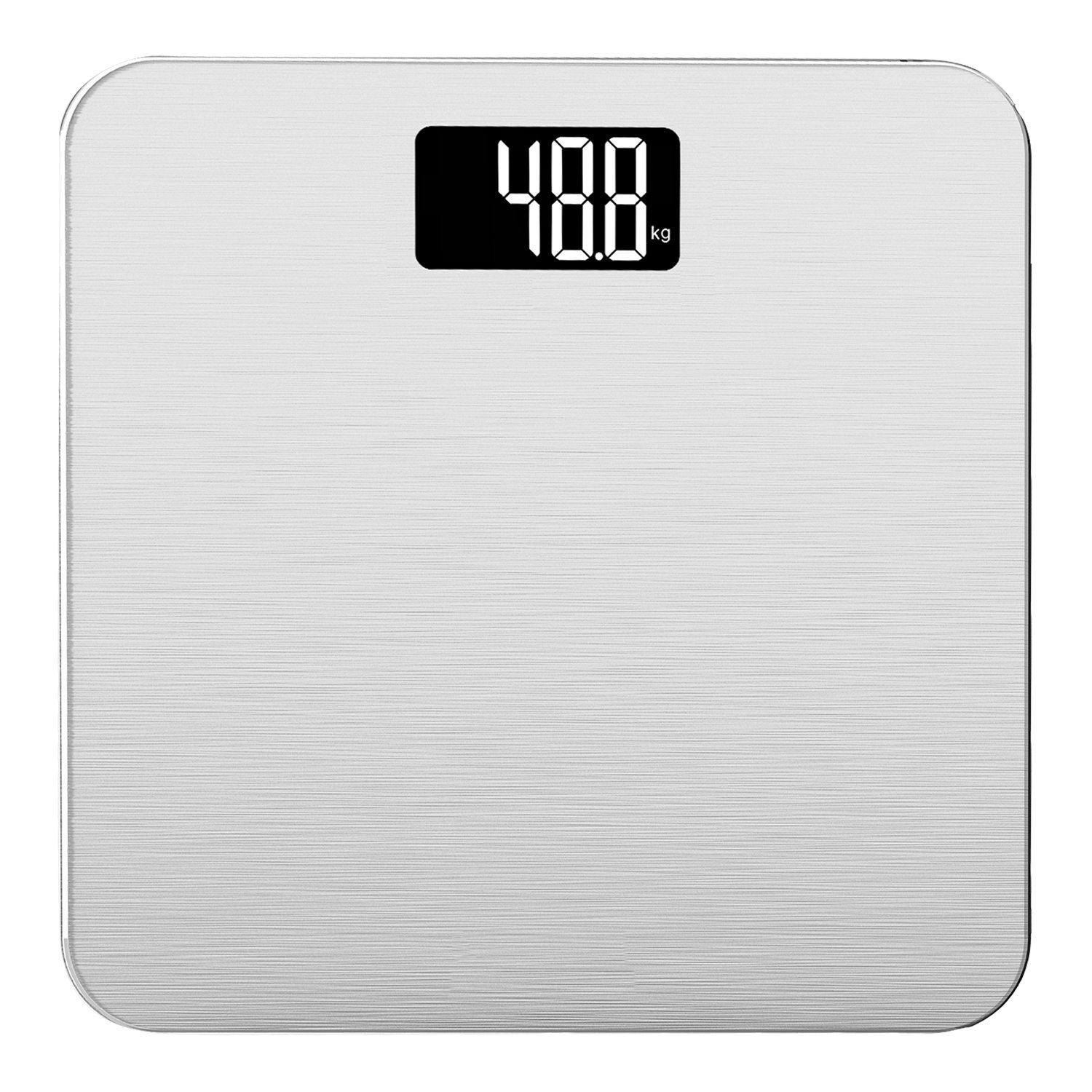 Smart Weigh 400lb/180kg Electronic Bathroom Scale in Tempered Glass with Advanced Step-On Technology (Silver) SLS500-SIL