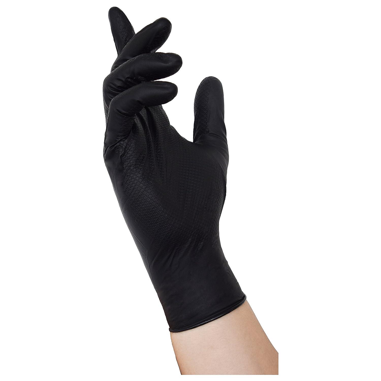 500 NITRAS Tough Grip N Nitril Einmalhandschuhe mit Grip in den Farben orange oder schwarz (L, schwarz)