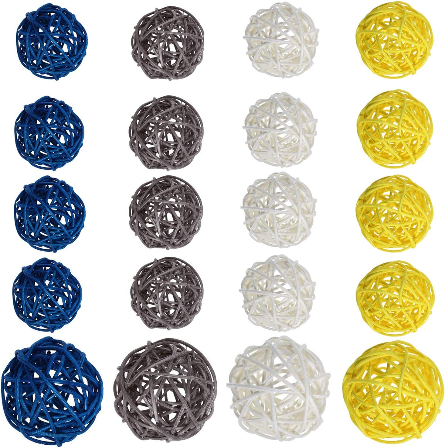 Jangostor 20 PCS Rattan Balls Wicker Ball Decorative Orbs Vase Fillers for Home Decor, Craft, Party, Wedding Decoration, Baby Shower, Aromatherapy Accessories, 3.2 in,2 in (Blue, Gray, White,Yellow)