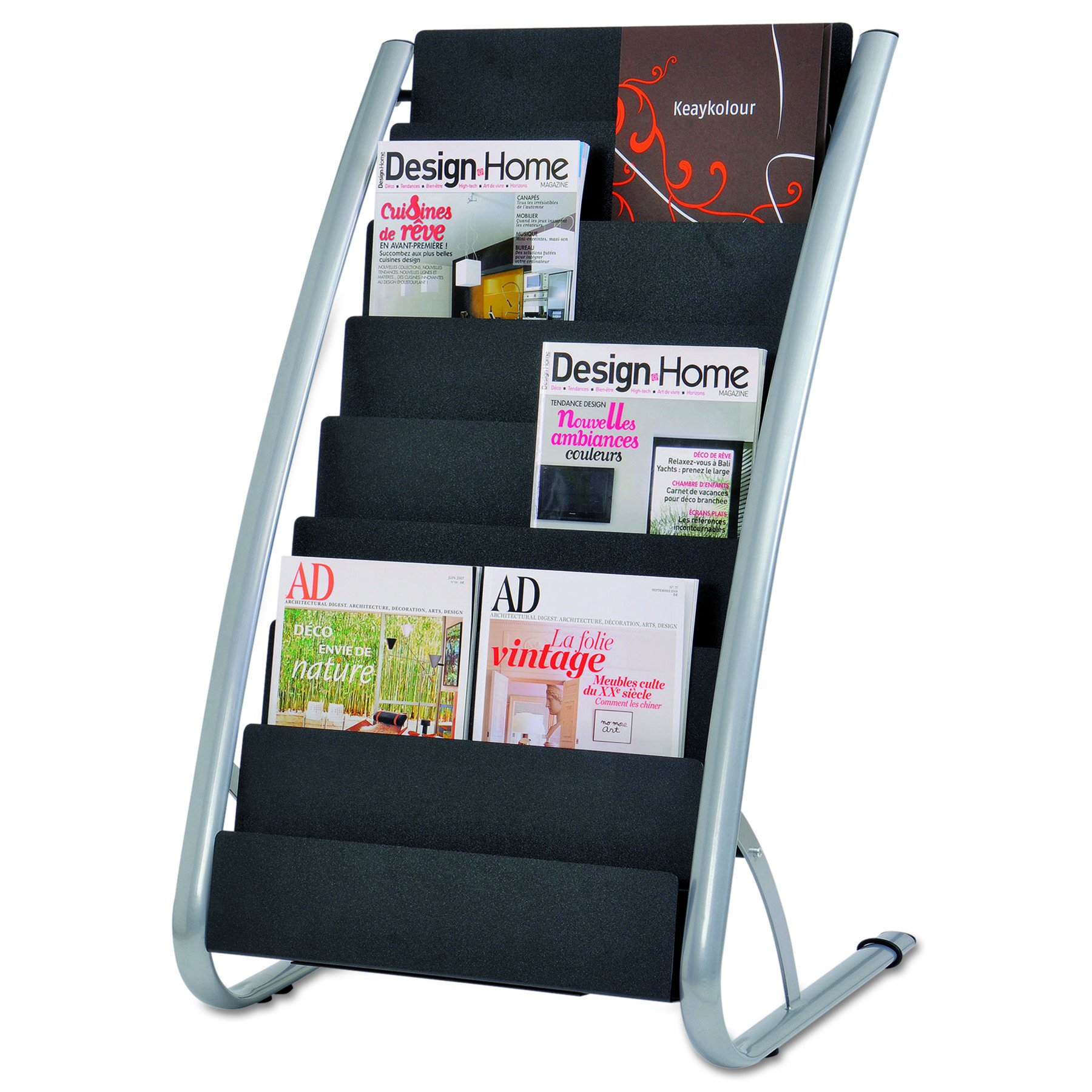 Alba DDEXPO8 Literature Floor Display Rack, Eight Pocket, 22.2w x 18.4d x 36h, Black/Steel (ABADDEXPO8) by Alba