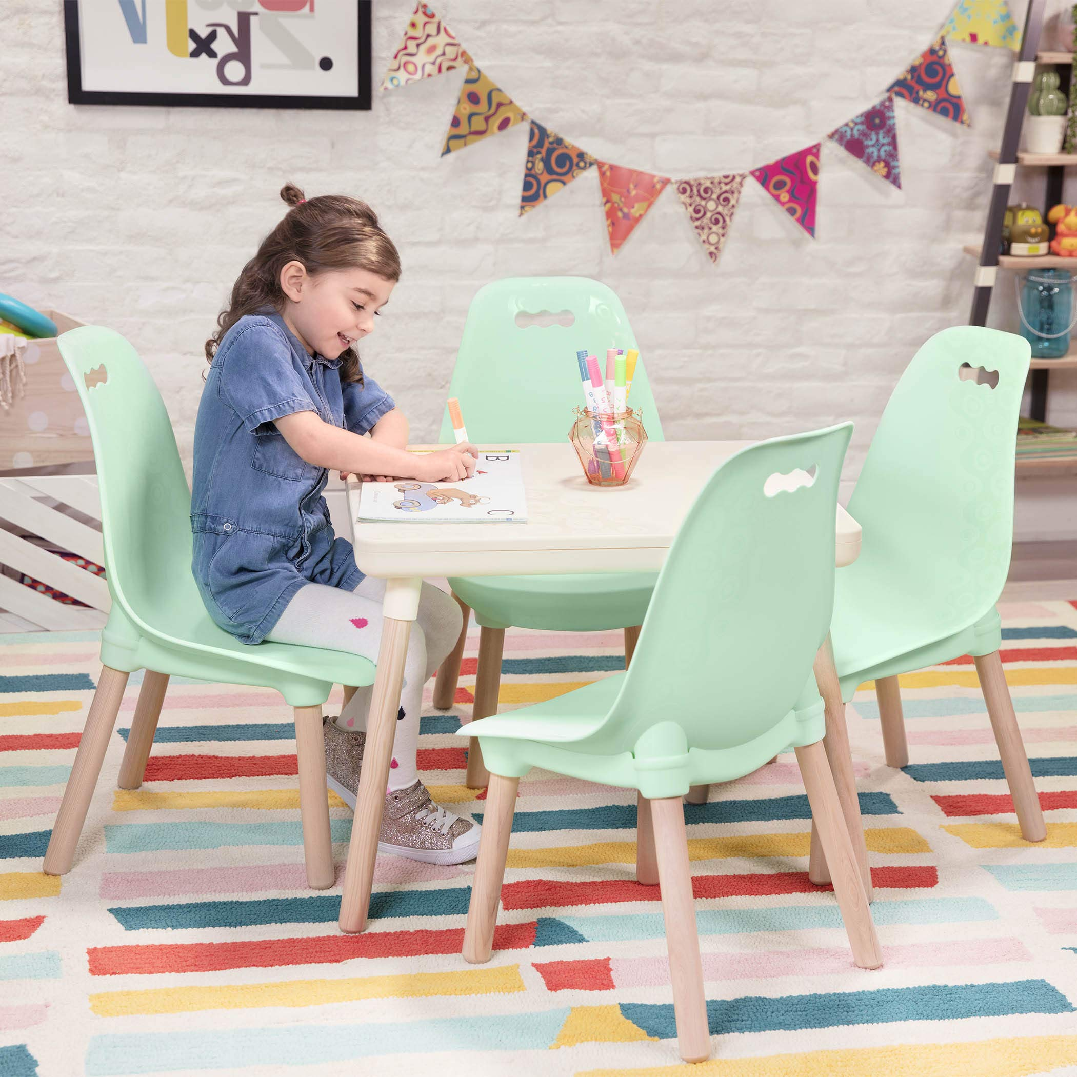 B toys – Kids Furniture Set – 1 Craft Table & 2 Kids Chairs with Natural Wooden Legs (Ivory and Mint) by B. spaces by Battat (Image #6)