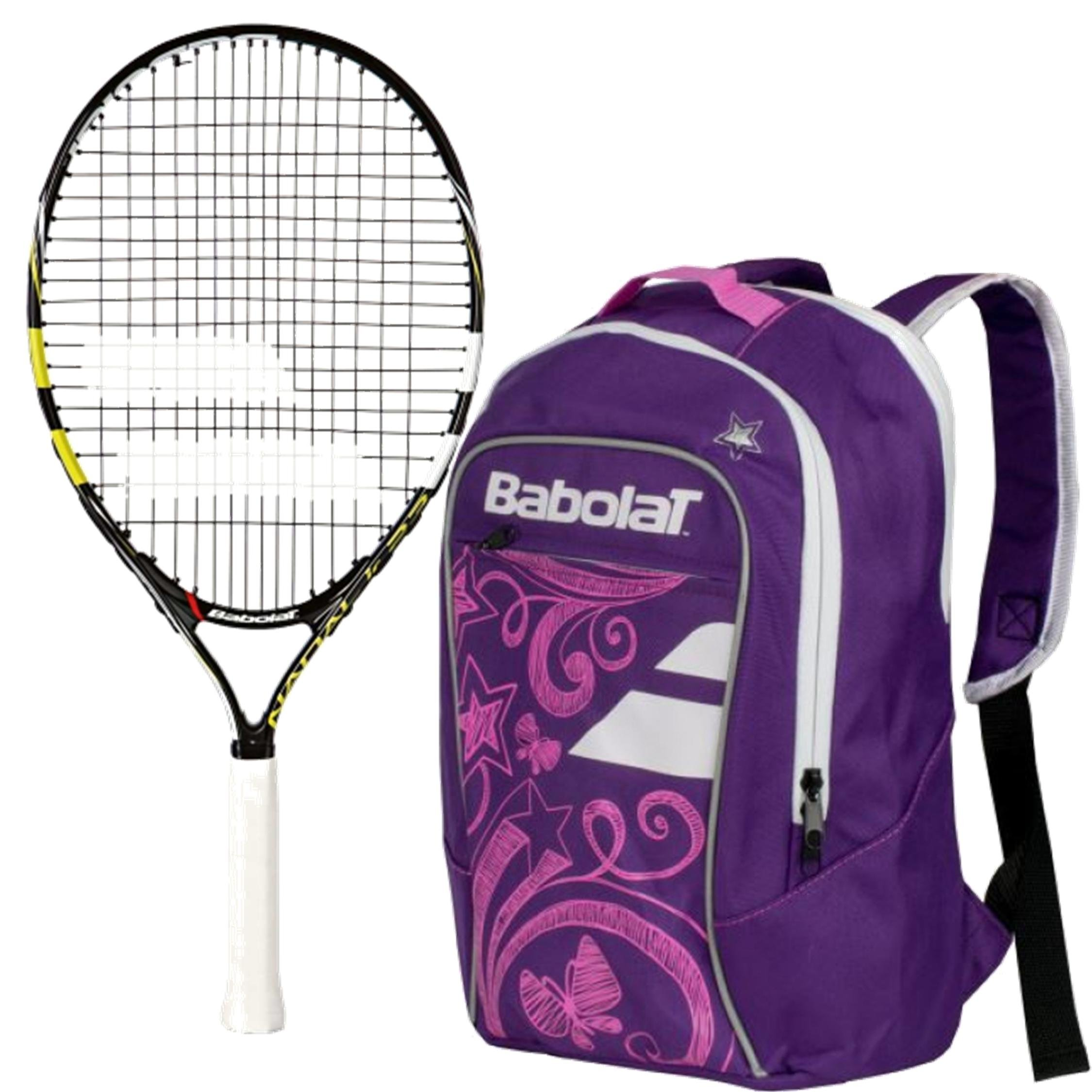 Babolat Nadal Junior 23'' Tennis Racquet (Yellow/Black/White) bundled with Girl's Club Tennis Backpack (Purple)