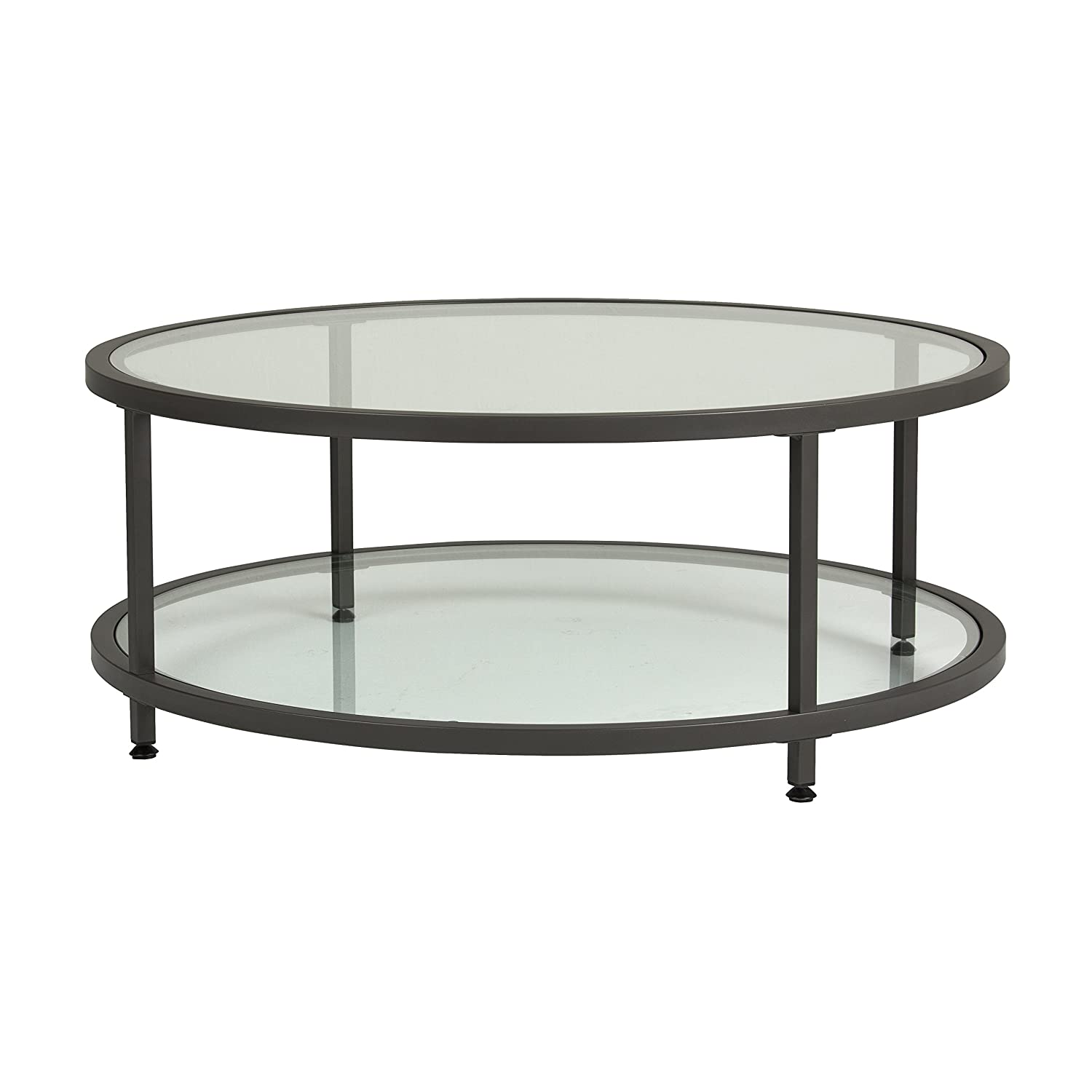 High Quality Amazon.com: Studio Designs Home 71003.0 Camber Round Coffee Table In Pewter  With Clear Glass: Kitchen U0026 Dining
