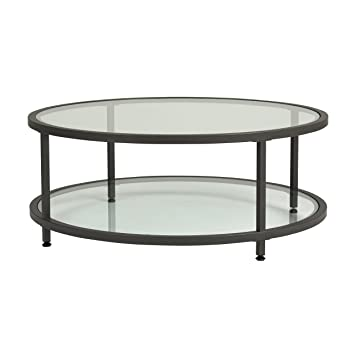 Studio Designs Home 71003 0 Camber Round Coffee Table In Pewter With Clear Glass