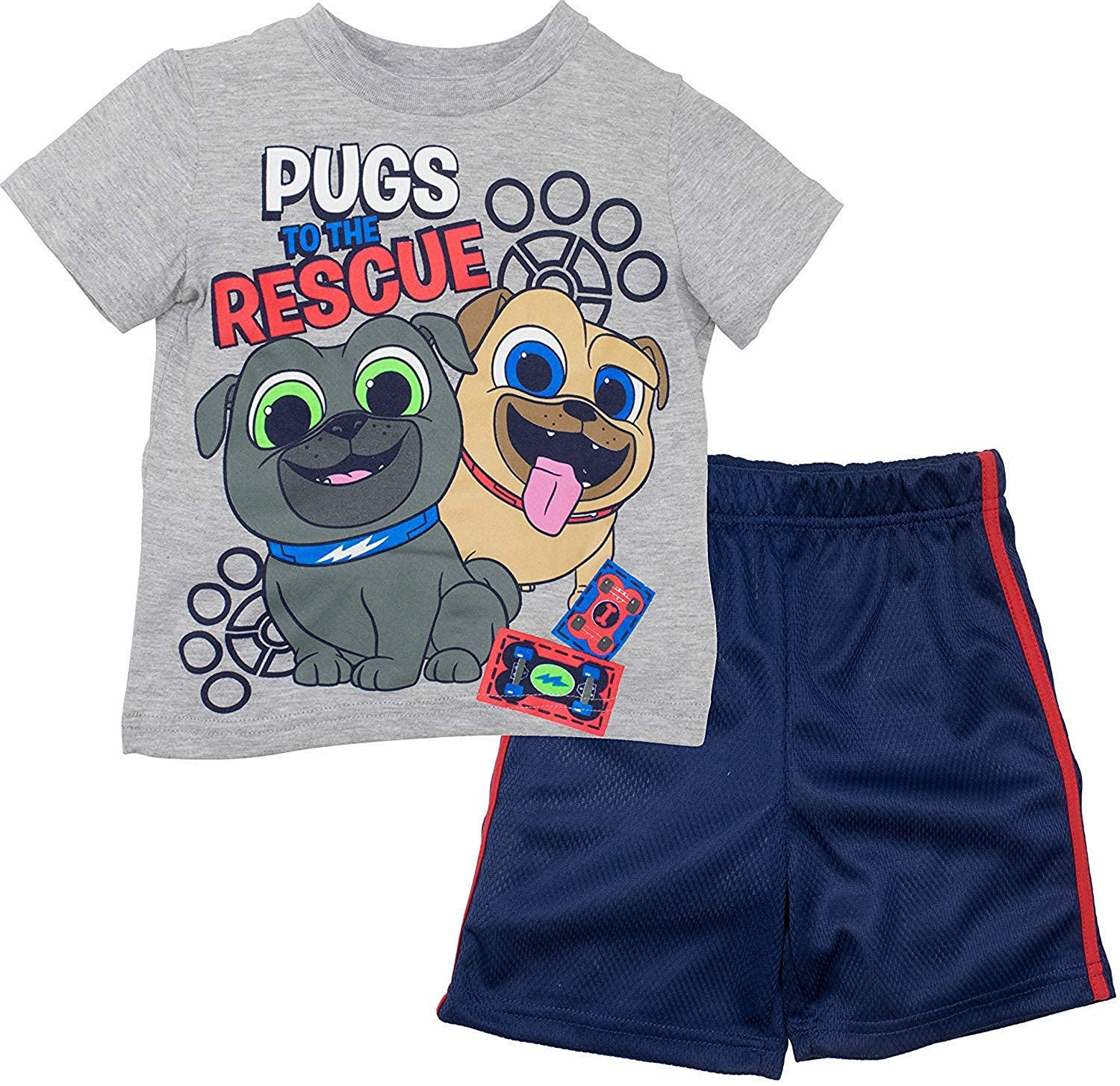 7ce49ca31 Amazon.com: Disney Puppy Dog Pals Rolly Bingo Toddler Boys Tshirt & Mesh Shorts  Clothing Set: Clothing