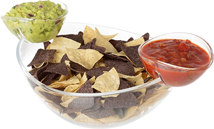 Chips Salsa and other Snacks Large 11 Bowl with 2 Detachable Cups for Dips Great for Salad Large Chip and Dip Bowl 3pc Set Dips