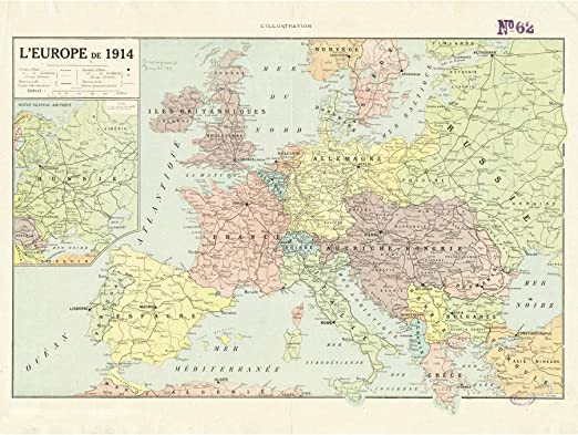 Peltier 1914 Political Map Europe French Language Large Wall Art Poster Print Thick Paper 18X24 Inch Político Mapa Europa francés Pared Impresión del Cartel: Amazon.es: Hogar