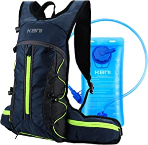 KBNI Hydration Backpack with 2L Water Bladder Portable Water Pack Backpack Lightweight Hydration Backpack Reservoir with LED Safety Light for Outdoor Hiking Jogging Cycling Camping
