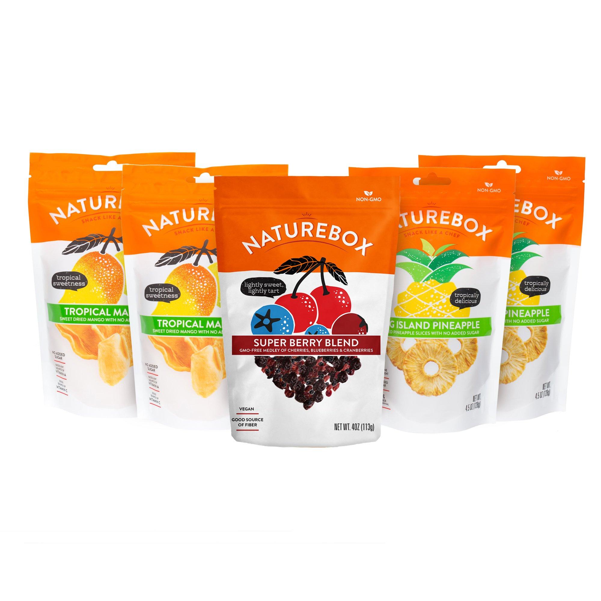 NatureBox Non-GMO Dried Fruit Sampler (5 bags) - Mango, Pineapple, Cherry, Cranberry, and Blueberry - Vegan Friendly
