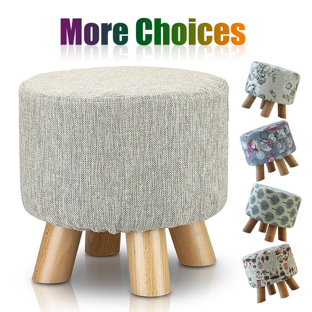 Sino Banyan Feet Stool with 1 More Cover,Soft Quick Detachable Cushion,Beige & Beige