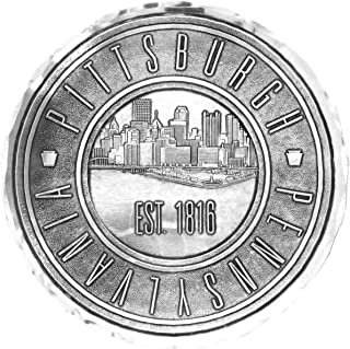 "product image for Wendell August Forge Pittsburgh Steel City Coaster, 4.5"" Round - Detailed Hand-Hammered Aluminum Drink Coaster - Made in the USA (1816)"