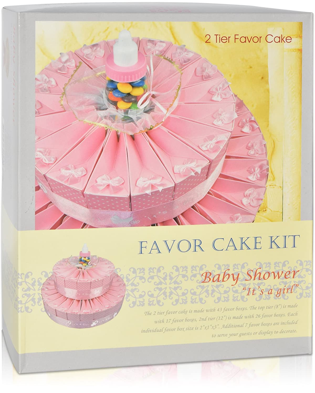 Amazon.com: 2 Tier Baby Shower Favor Bags Cake Kit Includes 50 Favor ...