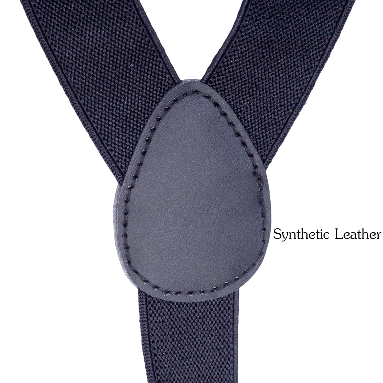 Dark Red, 31.5-33.5 Inch Toddler Kids Boys Baby Suspenders Adjustable Y Shape Elastic Leather Braces Suspenders 8 Years - 5 Feet Tall
