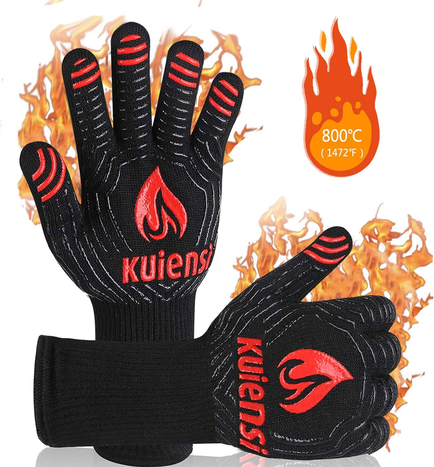 KUIENSI BBQ Gloves,1472°F Extreme Heat Resistant Grill Gloves,EN407 Certified,Oven Mitts,Combination of Cotton,Silicone Non-Slip Cooking Gloves,Designed for Baking Barbecue Fireplace (1 Pair)