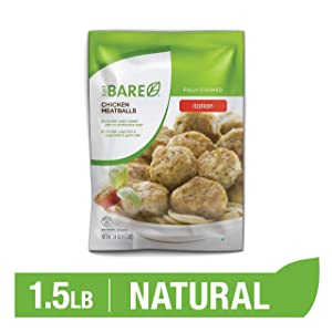 Just BARE Natural Chicken Meatballs | Fully Cooked | Italian Style | Frozen | 1.50 LB
