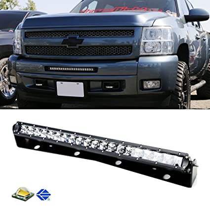 Amazon ijdmtoy complete 20 100w high power cree led light bar ijdmtoy complete 20quot 100w high power cree led light bar with lower bumper grille mounting aloadofball Choice Image