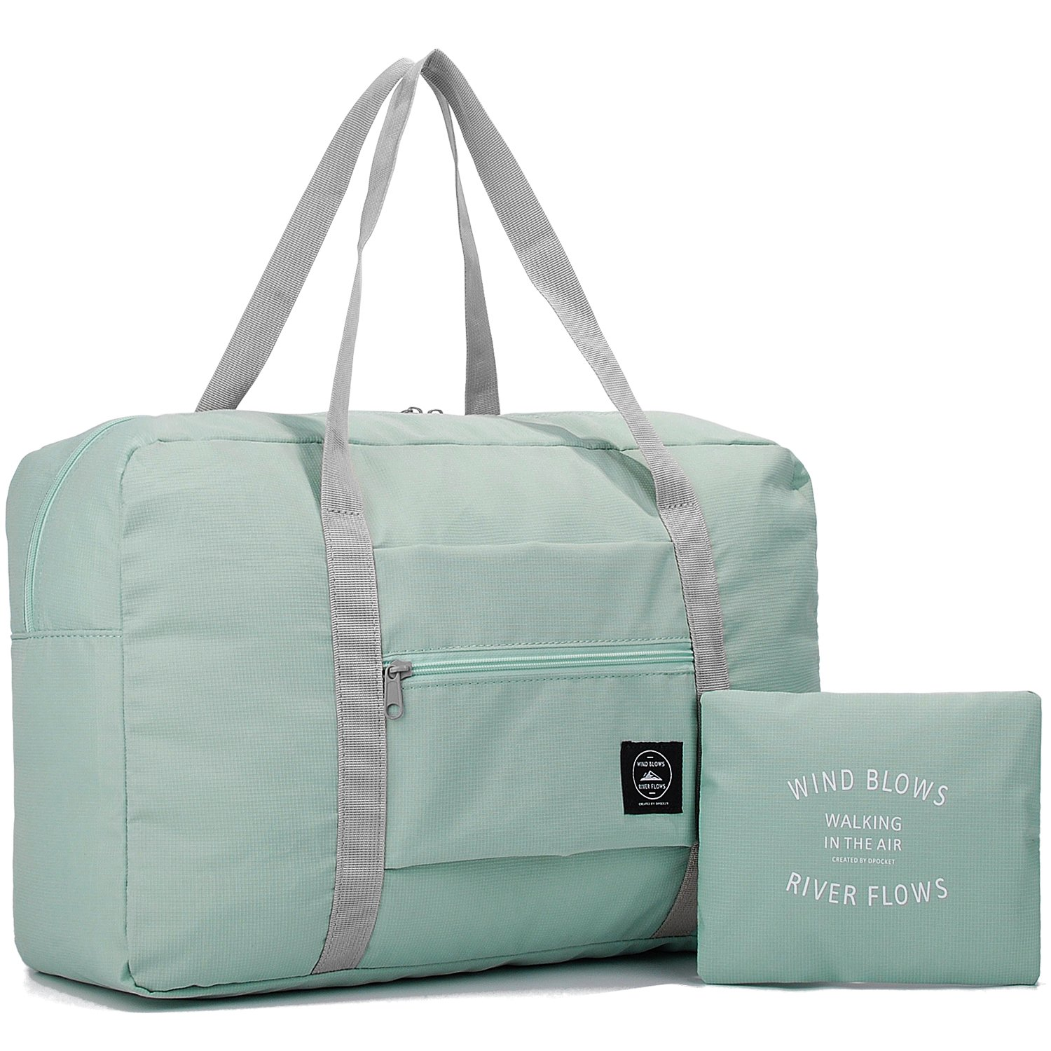Wandf Foldable Travel Duffel Bag Luggage Sports Gym Water Resistant Nylon (Mint green)