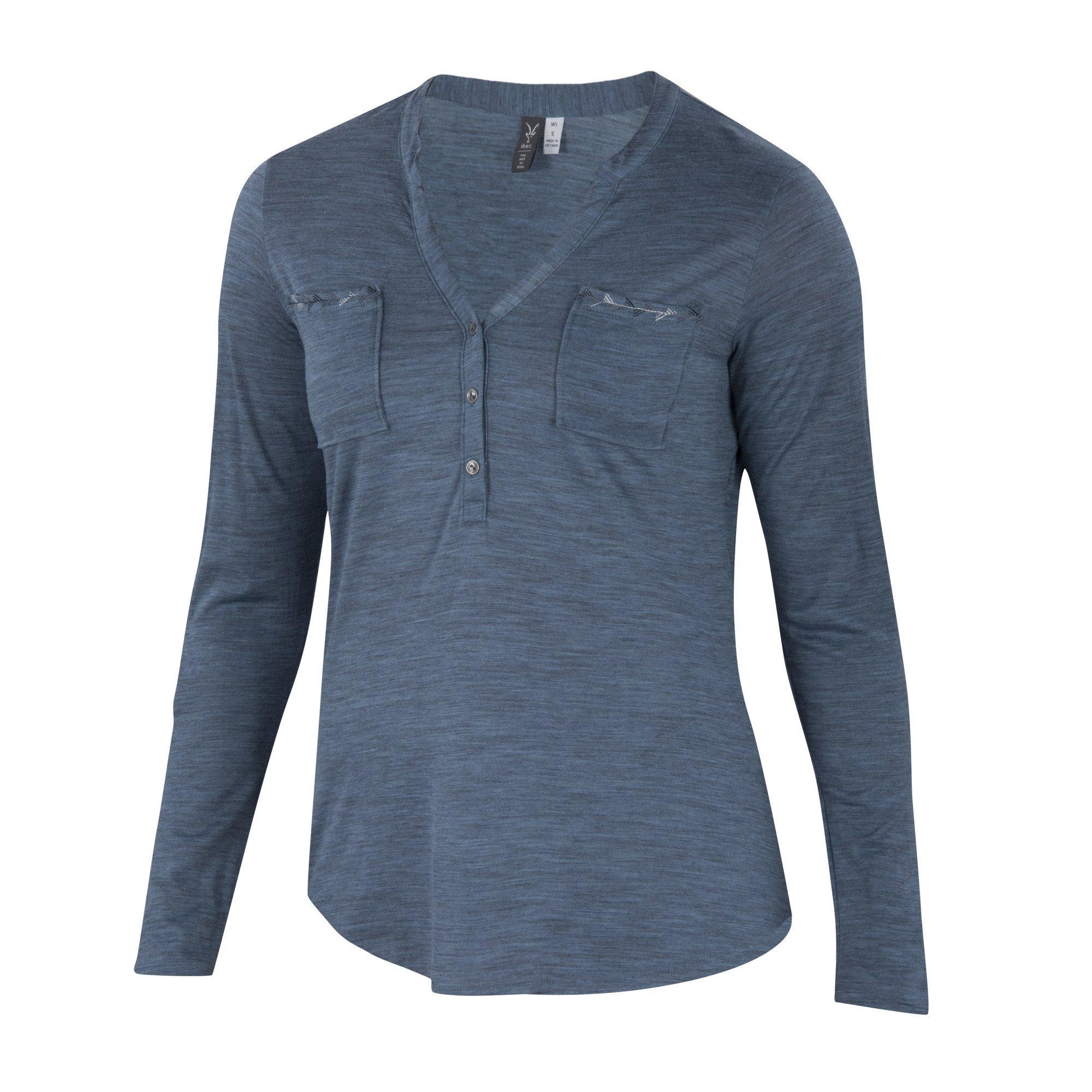 Ibex Shanti Henley Stripe Shirt - Women's Harbor Heather, XL