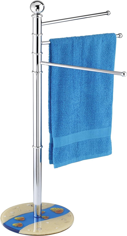 blau // beige chrom // Polyresin 49 x 90 x 28 cm Wenko 19562100 Handtuch und Kleiderst/änder Mare blau