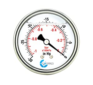"CARBO Instruments 2 1-2"" Pressure Gauge, Stainless Steel Case, Chrome Plated Brass Connection, Lqiuid Filled, Vacuum -30 Hg/0, Back Mount 1/4"" NPT"