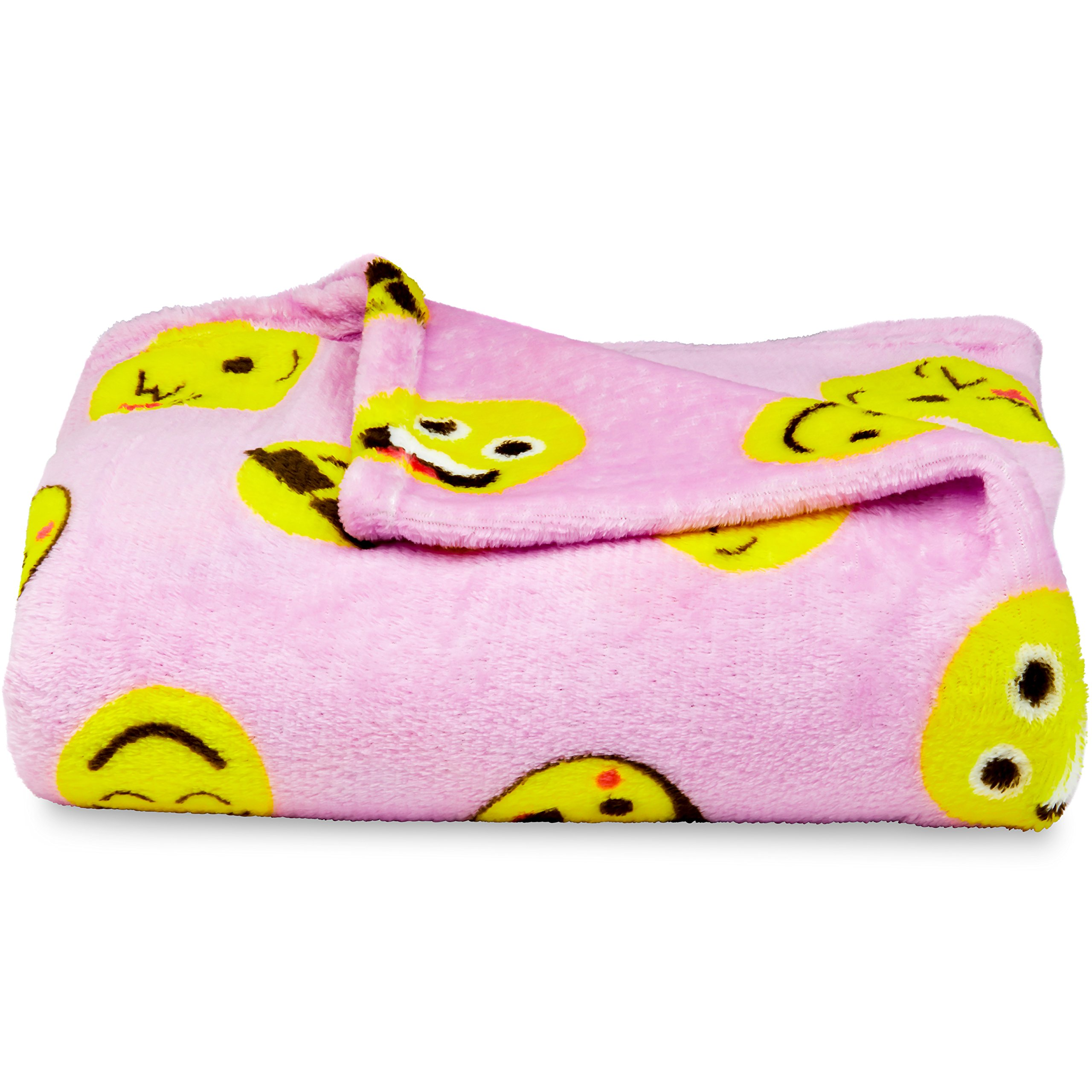 Koltose by Mash Pink Emoji Throw Blanket, Adorable Soft Large Fluffy Lightweight Emoticon Blanket for Girls and Boys, Toddlers Kids Teens and Young Adults (50in x 60in) by Koltose by Mash (Image #4)