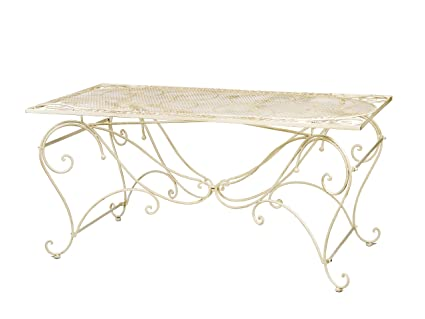 Tisch 30kg Gartentisch Esstisch Eisen Nostalgie antik Stil 160x80cm cremeweiss