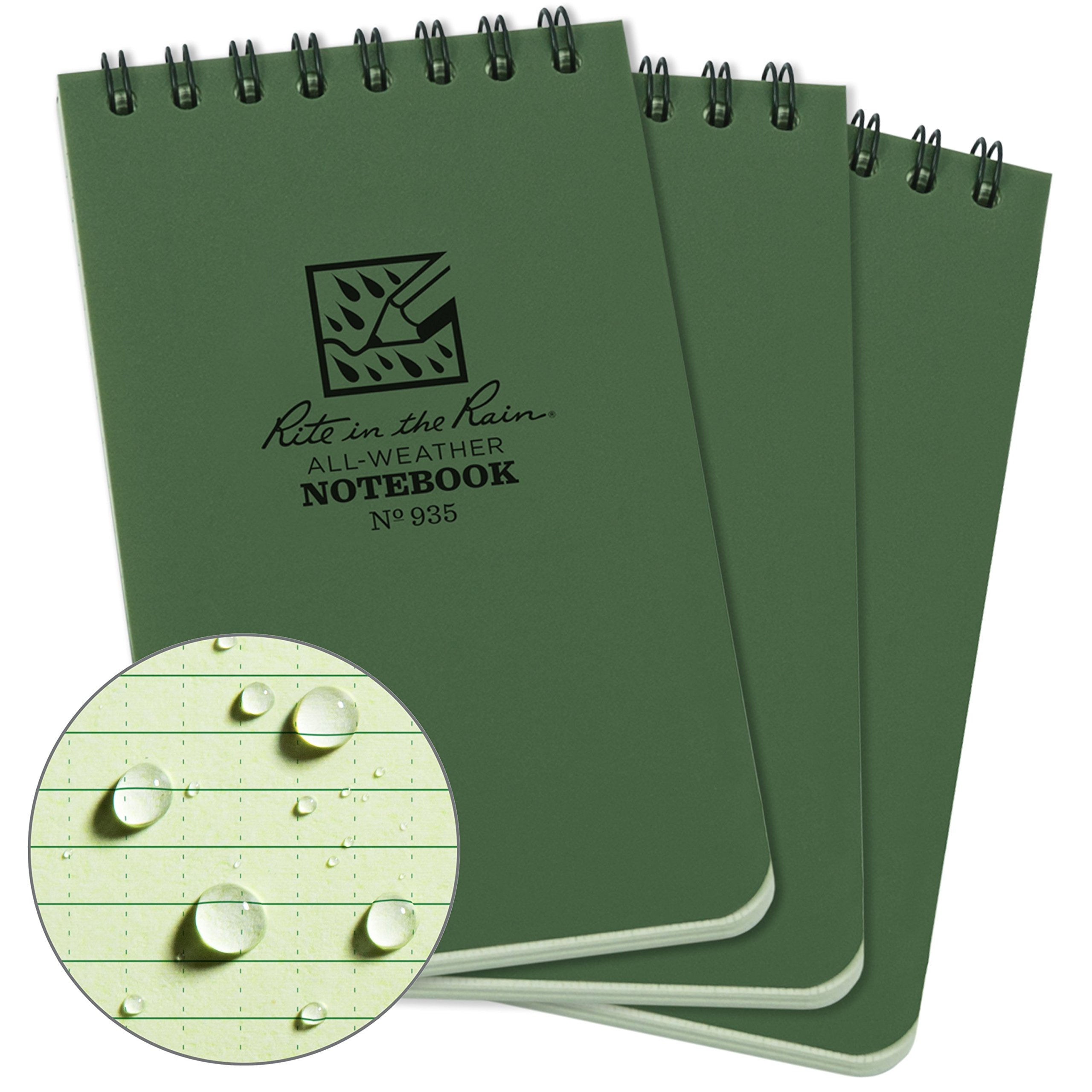 Rite in the Rain Weatherproof Top-Spiral Notebook, 3'' x 5'', Green Cover, Universal Pattern, 3 Pack (No. 935-3) by Rite In The Rain