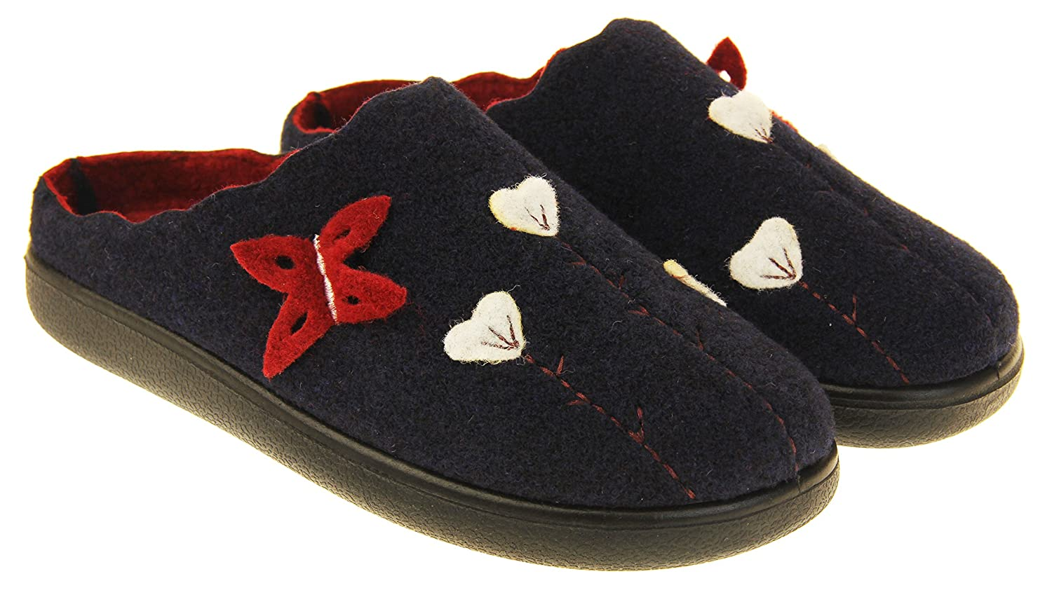 Coolers Womens Navy /& Burgundy Butterfly Felt Mules Slippers 10 B US M