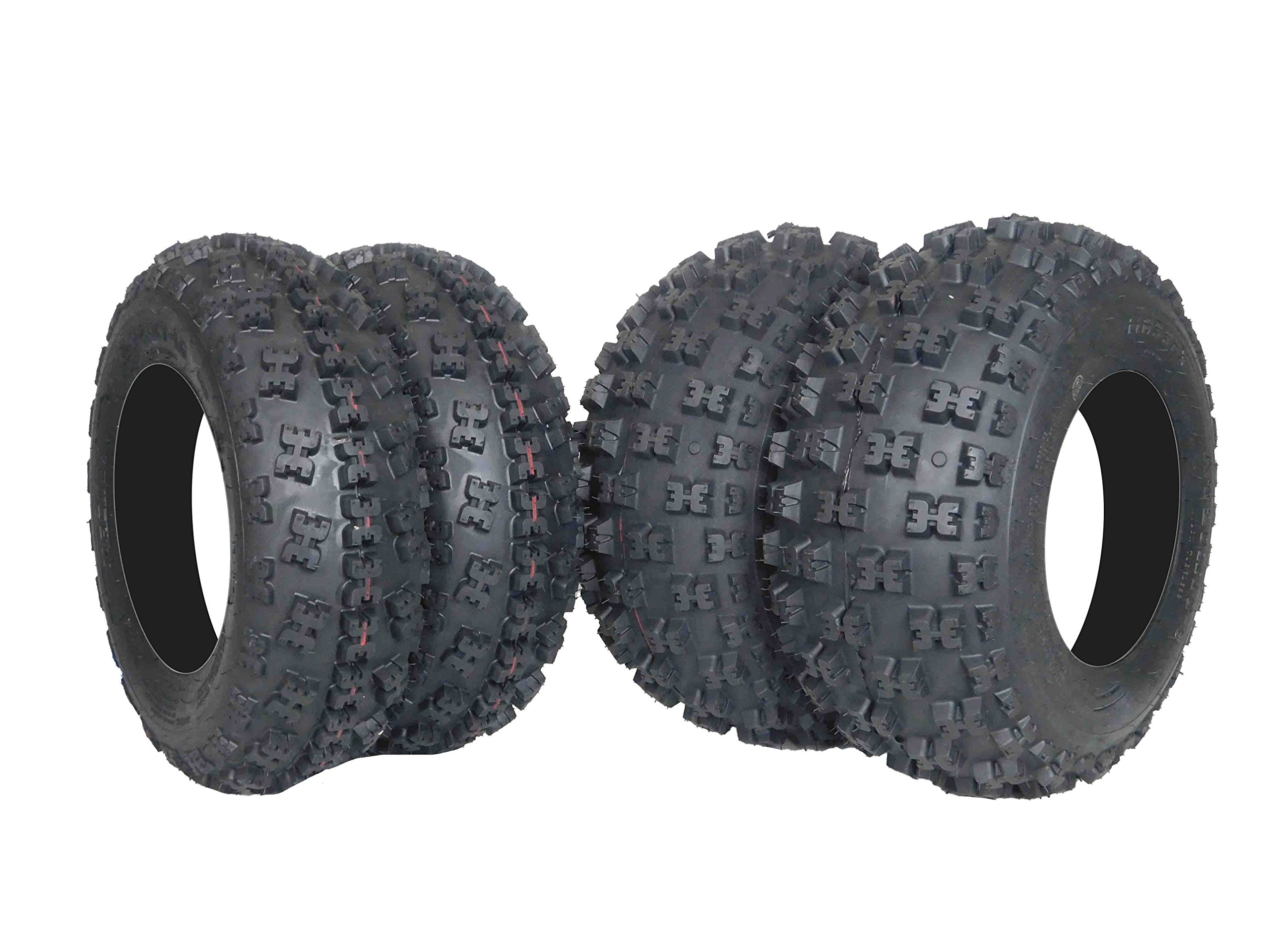 New MASSFX ATV Sport Quad Tires 21X7-10 20X10-9 6 Ply Dual Compound Front Rear For Yamaha Raptor Banshee Honda 400ex 450r 660 700 400 450 350 250 (Four Pack two Front 21x7-10 and Two Rear20x10-9 6) by MassFx