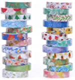 24 Rolls Washi Tapes,8mm Wide Decorative Washi Masking Adhesive Tape for DIY and Gift Wrapping