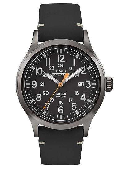 Timex Expedition - Reloj análogico de cuarzo con correa de cuero para hombre, Negro (