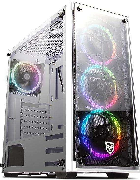 Nfortec Draco V2 Torre Gaming Negra RGB Diseño Full View (Cristal Templado) con 4 Ventiladores RGB y Controlador Inalámbrico Color Blanco: Amazon.es: Informática