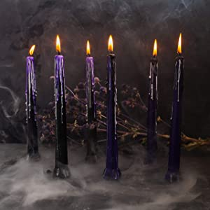 Halloween Decor Candles - Set of 6 - by Size 9 inch - Black & Purple & White Gifts