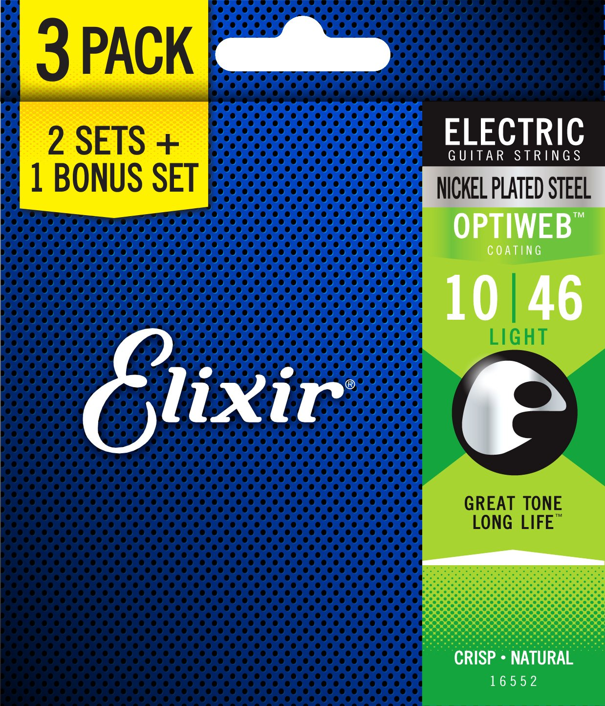 Elixir Strings 16552 Nickel Plated Steel Electric Guitar Strings with Optiweb Coating, Set of 3 Pieces