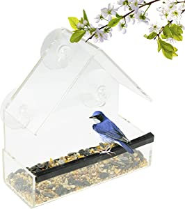 CLEVER GARDEN Clear Acrylic Bird Feeder with Strong Window Suction Cups and Seed Tray | Open House | Outdoor Birdfeeder for Wild Birds, Finch, Cardinal and Bluebird