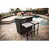 Suncrown Outdoor 3 Piece Brown Wicker Bar Set: Glass Bar And Two Stools With