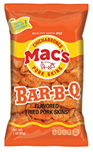 Mac's BBQ Pork Skins - Low Carb, Keto Friendly Snack - Crunchy Chicharrones / Pork Rinds (3 oz bags, 12ct)