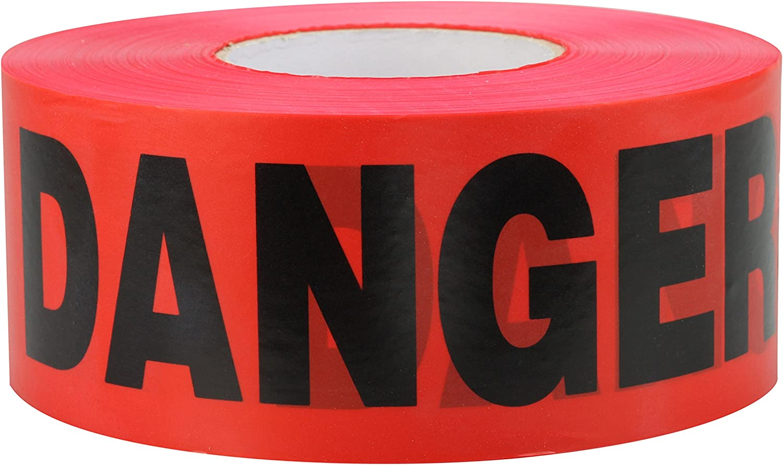 C.H. Hanson 14998 Red Caution/Danger Barricade Tape, 3 mil, 1000 ft