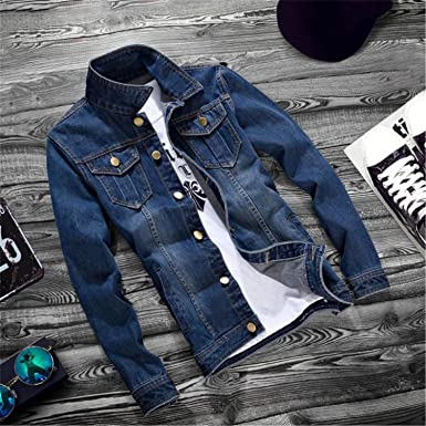 Feroni Casual Slim Fit Mens Denim Baseball Jacket Men Long Sleeve Mens Cowboy Outwear Jean Jacket