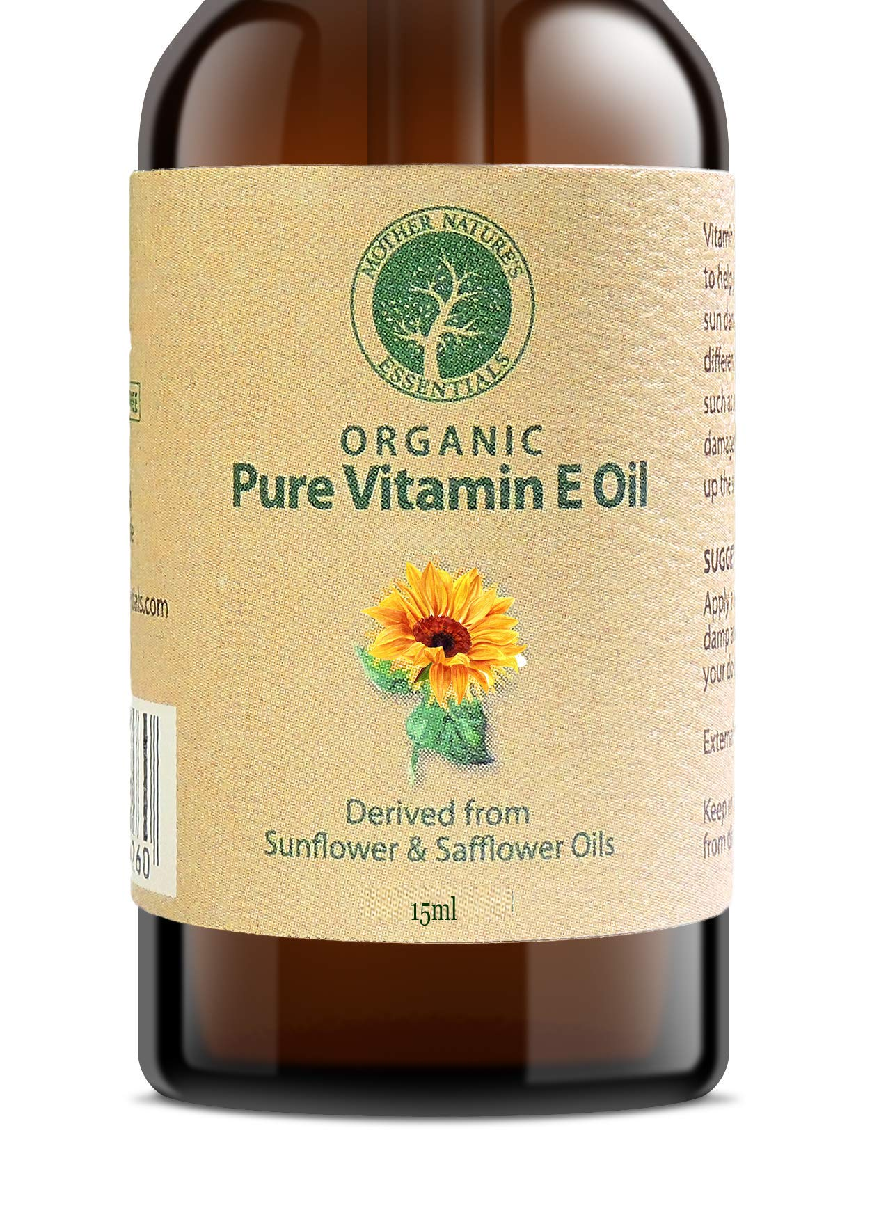 Vitamin E Oil PURE Organic d alpha tocopherol 15000IU, organic vitamin e oil derived from non-GMO Sunflower/Safflower Oil, Soy-Free and Wheat-Free. (15 mil)