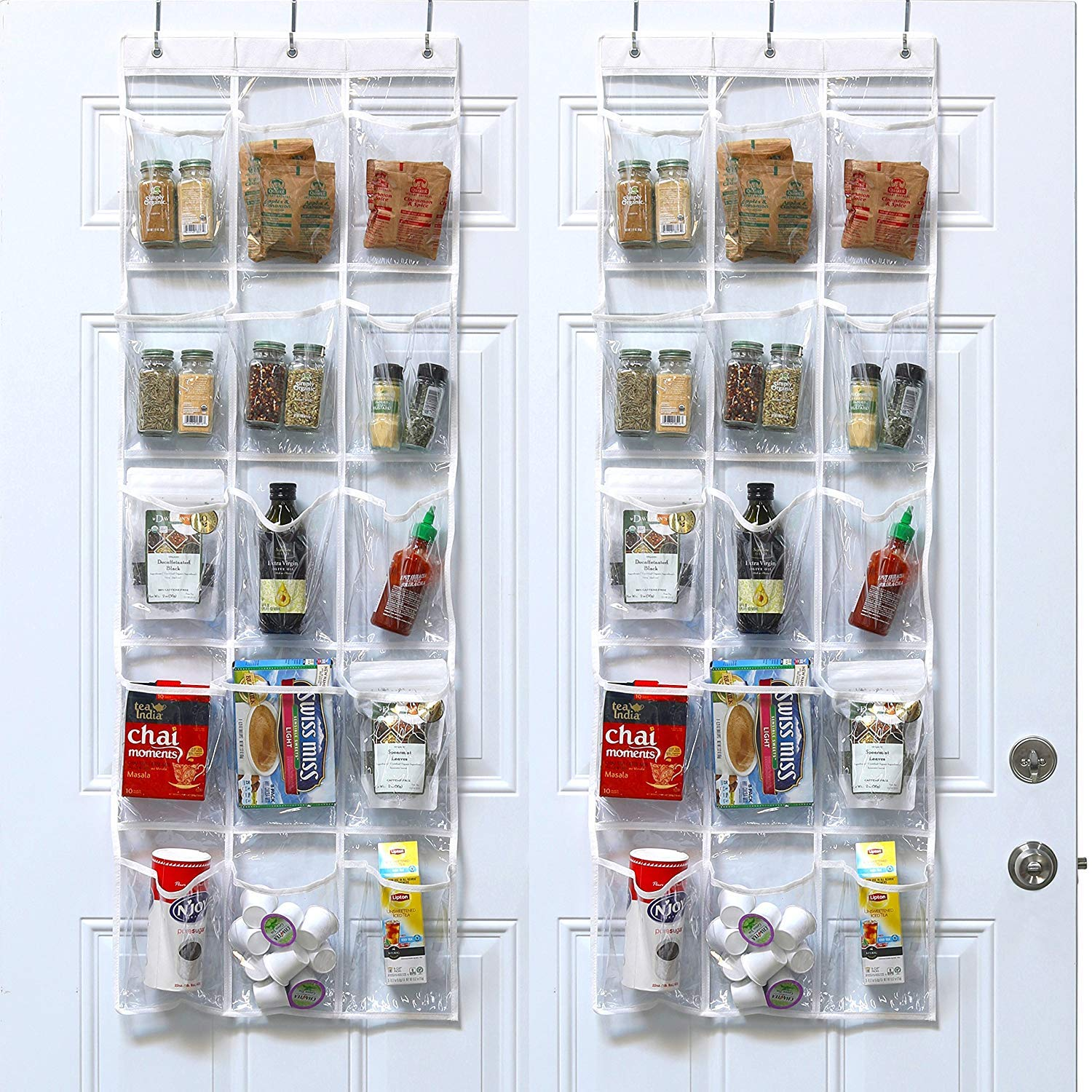 2 Pack - SimpleHouseware Crystal Clear Over the Door Hanging Pantry Organizer (52 x 19) Simple Houseware BO-020-1