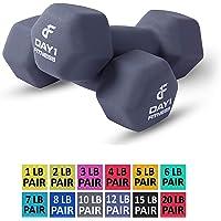 Par de mancuernas de neopreno por Day 1 Fitness - 12 tamaños de pares disponibles, 0.45 kg - 9.07 kg (1-20 libras) - antideslizante, forma de hexágono, código de color, fácil de leer. Pesas de mano para tonificación muscular, fortalecimiento de la fuerza, pérdida de peso
