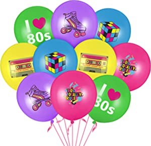WATINC 52pcs I Love 80s Latex Balloons Set for 1980s Retro Party Decor, Back to the 80s Balloons for Birthday Neon Party Favor Supplies, 80s Retro Balloon for 1980s Throwback Rock and Roll Theme Party