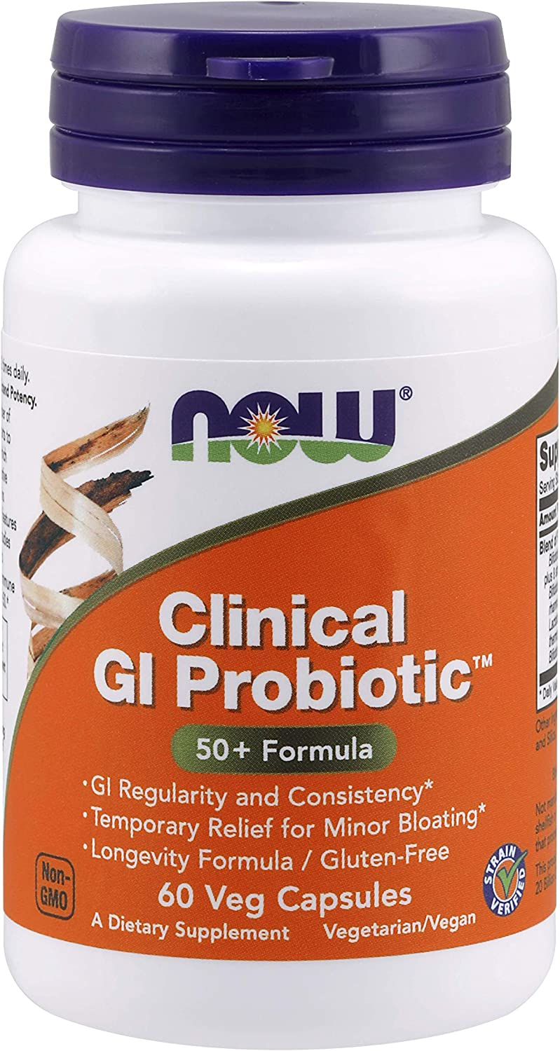 NOW Supplements, Clinical GI Probiotic™, 50+ Formula, Strain Verified, 60 Veg Capsules (packaging may vary)